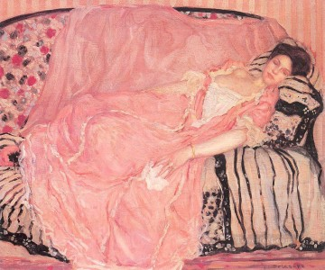 Carl Art Painting - Portrait of Madame Gely On the Couch Impressionist women Frederick Carl Frieseke