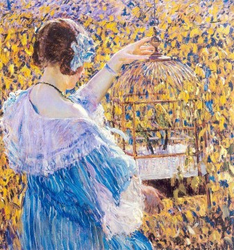 Carl Art Painting - The Birdcage Impressionist women Frederick Carl Frieseke