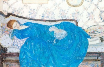 The Blue Gown Impressionist women Frederick Carl Frieseke Oil Paintings