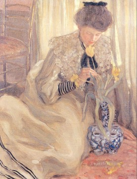 The Yellow Tulip Impressionist women Frederick Carl Frieseke Oil Paintings