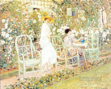 Lilies Impressionist women Frederick Carl Frieseke Oil Paintings