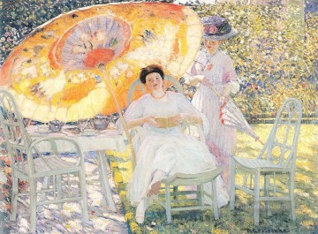 The Garden Parasol Impressionist women Frederick Carl Frieseke Oil Paintings