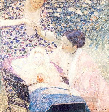 The Mother Impressionist women Frederick Carl Frieseke Oil Paintings