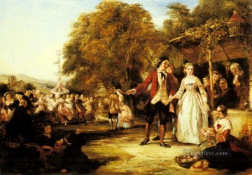 Frith Oil Painting - A May Day Celebration Victorian social scene William Powell Frith