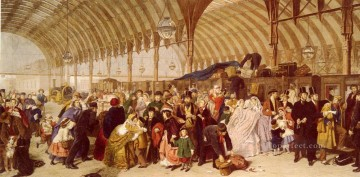 Frith Oil Painting - The Railway Station Victorian social scene William Powell Frith