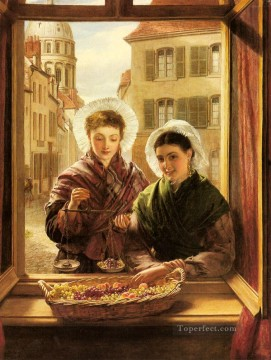 Frith Oil Painting - At My Window Boulogne Victorian social scene William Powell Frith