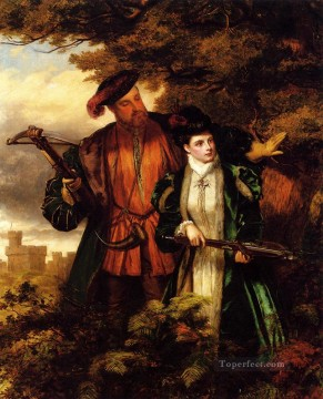 Henry VIII And Anne Boleyn Deer Shooting Victorian social scene William Powell Frith Oil Paintings