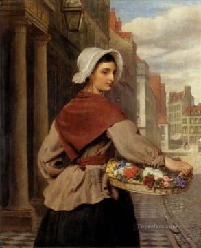 Frith Oil Painting - The Flower Seller Victorian social scene William Powell Frith