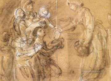 A Study For Charity Relieving Distress Thomas Gainsborough Oil Paintings