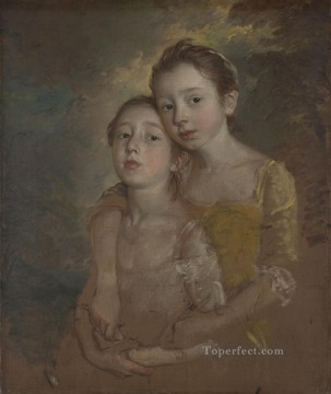 Artists Oil Painting - Artists daughters with a cat portrait Thomas Gainsborough