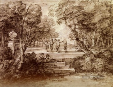 Dancers With Musicians In A Woodland Glade Thomas Gainsborough Oil Paintings