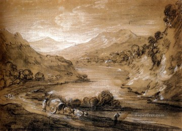 Mountainous Landscape With Cart And Figures Thomas Gainsborough Oil Paintings