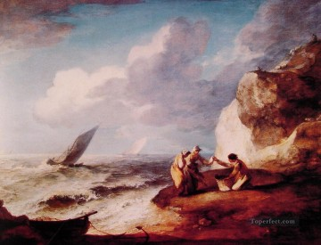 Coast Painting - A Rocky Coastal Scene Thomas Gainsborough