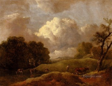 cattle bull cow Painting - An Extensive Landscape With Cattle And A Drover Thomas Gainsborough