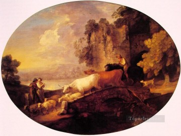 Love Painting - River Landscape with Rustic Lovers Thomas Gainsborough