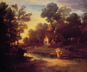 cattle bull cow Painting - Wooded Landscape with Cattle by a Pool and a Cottage Thomas Gainsborough