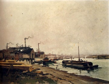 Les Forges D Ivry gouache Eugene Galien Laloue Oil Paintings