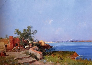 Lunch On A Terrace With A View Of The Bay Of Naples Eugene Galien Laloue Oil Paintings