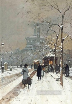 gouache painting - FIGURES in the snow Paris Parisian gouache Eugene Galien Laloue