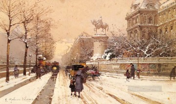 gouache painting - Paris In Winter Parisian gouache Eugene Galien Laloue