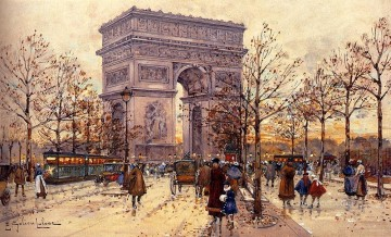 Arc De Triomphe Parisian gouache Eugene Galien Laloue Oil Paintings