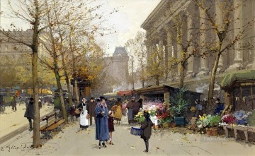 Flower Market La Madeleine Galien Eugene Oil Paintings