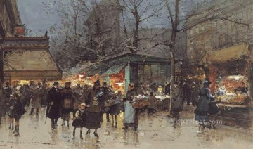 gouache - On a Grand Boulevard at Dusk Parisian gouache Eugene Galien Laloue