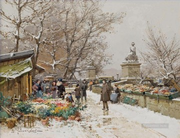 Paris Un coin de quai Galien Eugene Oil Paintings