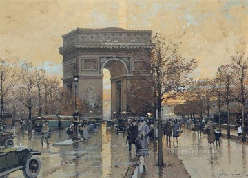 gouache Deco Art - The Arc de Triomphe Paris Parisian gouache Eugene Galien Laloue