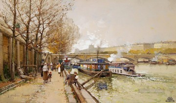 mornings on the seine monet Painting - along the seine river Galien Eugene
