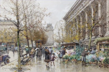 PARIS Painting - Paris Le march aux fleurs Galien Eugene