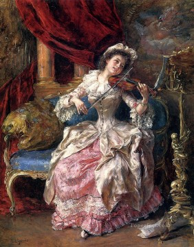 A Musical Afternoon woman Eduardo Leon Garrido Oil Paintings