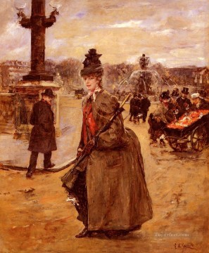 Elegante Place De La Concorde Paris woman Eduardo Leon Garrido Oil Paintings