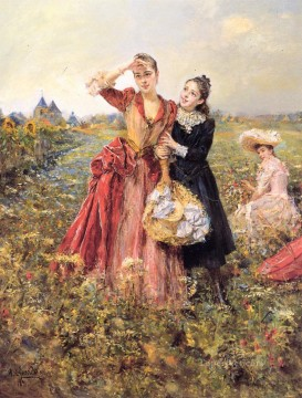 Eduardo Leon Garrido Painting - Picking Wildflowers woman Eduardo Leon Garrido