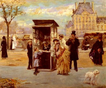 The Kiosk By The Seine woman Eduardo Leon Garrido Oil Paintings