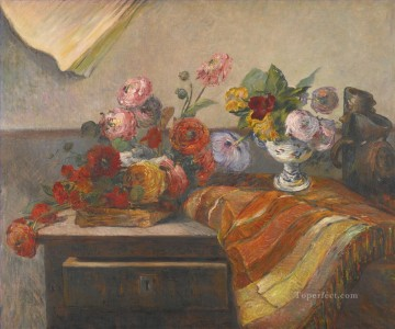 life - BOUQUETS ET CERAMIQUE SUR UNE COMMODE still life flowers Paul Gauguin