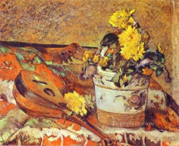 Paul Gauguin Painting - Mandolina and Flowers Post Impressionism Primitivism Paul Gauguin