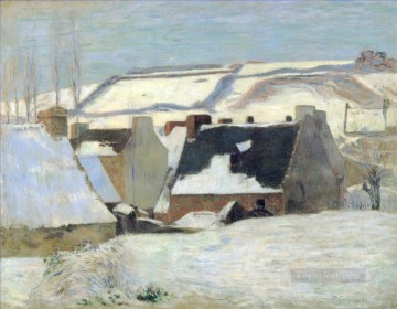 Pont Aven under the snow effect scenes Paul Gauguin Oil Paintings