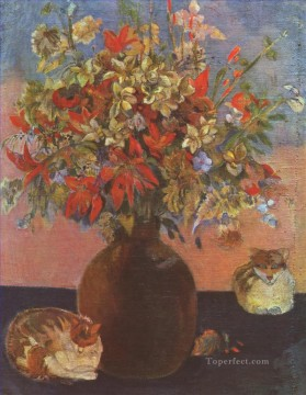 Still life with cats Paul Gauguin flowers Oil Paintings
