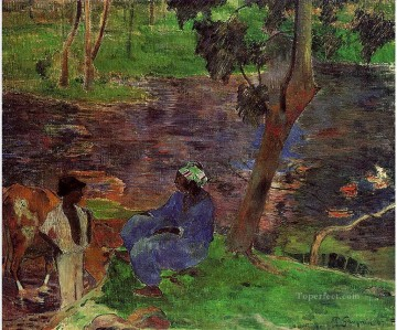 Paul Gauguin Painting - At the Pond Post Impressionism Primitivism Paul Gauguin