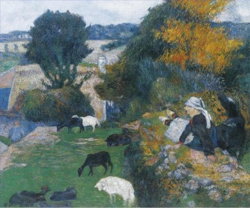Paul Gauguin Painting - Breton Shepherdess Post Impressionism Primitivism Paul Gauguin