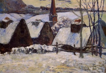 Paul Gauguin Painting - Breton Village in Snow Post Impressionism Primitivism Paul Gauguin