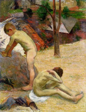 Artworks by 350 Famous Artists Painting - Breton boys bathing Paul Gauguin child