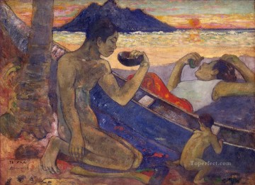 Artworks by 350 Famous Artists Painting - Canoe Tahitian Family Paul Gauguin
