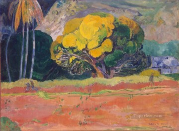 Paul Gauguin Painting - Fatata te moua At the Foot of a Mountain Post Impressionism Primitivism Paul Gauguin