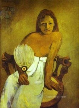 Paul Gauguin Painting - Girl with a Fan Post Impressionism Primitivism Paul Gauguin