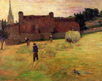 Paul Gauguin Painting - Hay Making in Brittany Post Impressionism Primitivism Paul Gauguin
