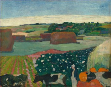 Paul Gauguin Painting - Haystacks in Brittany Post Impressionism Primitivism Paul Gauguin