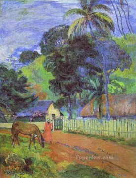 horse canvas - Horse on Road Tahitian Landscape Post Impressionism Primitivism Paul Gauguin