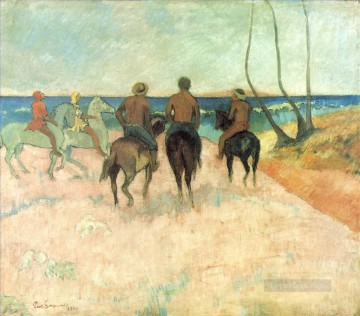 Paul Gauguin Painting - Horsemen on the Beach Post Impressionism Primitivism Paul Gauguin